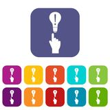 A finger pointer and light bulb icons set. Vector illustration in flat style in colors red, blue, green, and other Stock Images