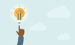 Finger pointer and light bulb Royalty Free Stock Photography