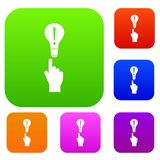 A finger pointer and light bulb set collection. A finger pointer and light bulb set icon in different colors isolated vector illustration. Premium collection Royalty Free Stock Images