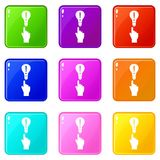 A finger pointer and light bulb set 9 Stock Photography