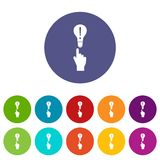 A finger pointer and light bulb set icons Stock Images