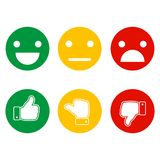 Finger pointer and smileys of emotions on a white background. Check and Cancel Marks. Good mood and bad Royalty Free Stock Images