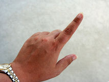 Finger Pointing. Back side of hand with finger pointing Royalty Free Stock Photo