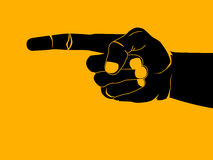 Finger pointing. Illustration black and orange Stock Images
