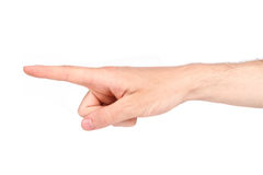 Finger pointing. Hand pointing studio shot isolated on white Royalty Free Stock Photo