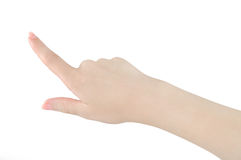 Finger pointing. Isolated finger pointing on white background Stock Photography
