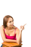 Finger Pointing Asian Woman Blank Ad Copy Space V Stock Images