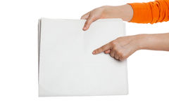 Finger pointing Blank Newspaper Royalty Free Stock Photos