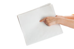 Finger pointing Blank Newspaper Stock Image