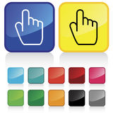Finger pointing button. Conceptual vector illustration of hand index finger pointing button web2.0 Stock Images