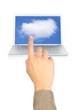A finger pointing cloud computing Royalty Free Stock Photo