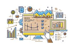 Finger pointing at computer screen with various diagrams, bar and pie charts, linear graphs. Concept of statistical data stock illustration