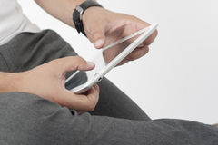 Finger Pointing on Digital Tablet. Stock Photos