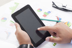 Finger Pointing on Digital Tablet Stock Photography