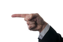 Finger pointing direction. Person wearing business suit Royalty Free Stock Images