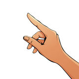 Finger pointing female hand. Royalty Free Stock Images