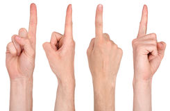 Finger pointing from four different angle Stock Image