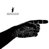 Finger pointing hand, detailed black and white vector illustrati Royalty Free Stock Photography