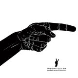 Finger pointing hand, detailed black and white vector illustrati Stock Photos