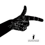 Finger pointing hand, detailed black and white vector illustrati. On, hand sign Royalty Free Stock Photos