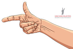 Finger pointing hand, detailed vector illustration, hand sign. Creative and conceptual sign Stock Image
