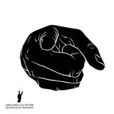 Finger pointing hand showing directly at observer, detailed blac. K and white vector illustration, hand sign Royalty Free Stock Photography