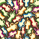 Finger pointing hands seamless pattern. Royalty Free Stock Photo