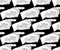 Finger pointing hands seamless pattern, black and white vector b Royalty Free Stock Photos