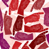 Finger pointing hands seamless pattern, vector background for wa. Llpapers, textile or other designs Royalty Free Stock Photos