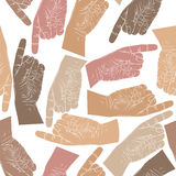 Finger pointing hands seamless pattern, vector background Royalty Free Stock Photo