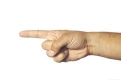 Finger pointing left. Man's finger pointing left on white background Royalty Free Stock Image
