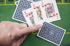 Finger pointing marked cards cheating Royalty Free Stock Photos