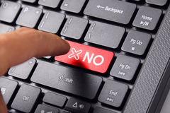 Finger pointing NO on keyboard Royalty Free Stock Images
