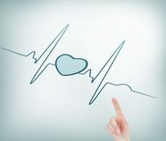 Finger pointing out heart. Composite image of finger pointing out heart in ecg line Royalty Free Stock Image
