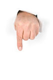 Finger pointing and pushing Royalty Free Stock Photo