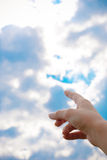 Finger pointing at the sky Royalty Free Stock Photography