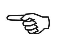 Finger pointing symbol. Closeup of finger pointing left symbol on white background Stock Photography