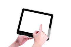 Finger pointing at tablet PC. With white screen isolated on white background Royalty Free Stock Photos