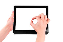 Finger pointing at tablet PC. With white screen isolated on white background Royalty Free Stock Photo