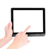 Finger pointing at tablet PC. With white screen isolated on white background Royalty Free Stock Photography