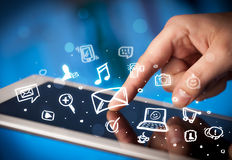 Finger pointing on tablet pc, social media concept Stock Photography