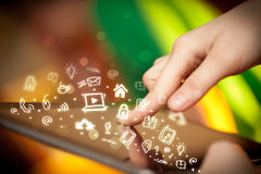 Finger pointing on tablet pc, social media concept Royalty Free Stock Images