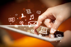 Finger pointing on tablet pc, social media concept Royalty Free Stock Photo