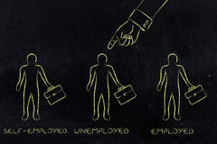 Finger pointing at unemployed men among self-employed & employed Stock Photo