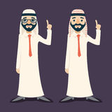 Finger Pointing Up Businessman Sale Presentation Cartoon Character Arab Traditional National Muslim Clothes White Board. Icon Stylish Background Retro Cartoon Royalty Free Stock Photography