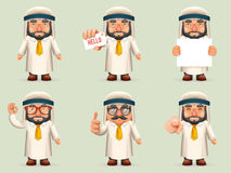 Finger Pointing Up Businessman Sale Presentation Cartoon Character Arab Traditional National Muslim Clothes White Board. Icon Stylish Background Retro Cartoon Royalty Free Stock Photos