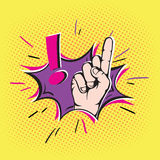 Finger pointing up in pop art style. Finger pointing up with exclamation sign.Pop art style Royalty Free Stock Photo