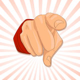 Finger is pointing at you. Finger is pointing on striped background Royalty Free Stock Images