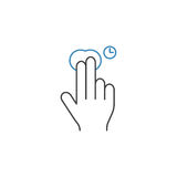 2 Finger Press and Hold line icon, hand gestures. 2 Finger Press and Hold line icon, touch and hand gestures, vector graphics, a color linear pattern on a white stock illustration