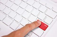 Finger Press The Keyboard. Stock Photos